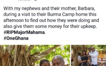 John Mahama Brags on Facebook About Giving Money to Major Mahama's Wife