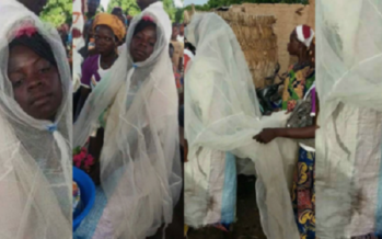 Photos: You Wont Believe that this Poor Bride Wore a Mosquito Net and Bag Of Rice as her Wedding Gown