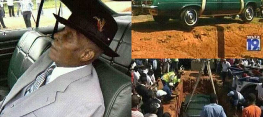 Money Swine! Kenyan Millionaire Gets Buried While Seated In His Car [Photos]
