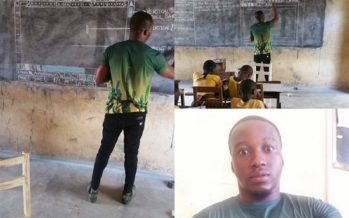 Ghanaian School Teacher has to Draw a Computer's On-screen on a Board to Teach ICT
